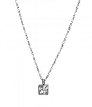 Cube Short Necklace Clear/Steel