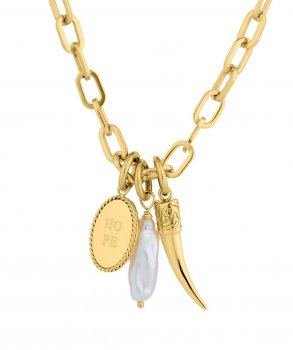 Long Pearl Charm Necklace Gold