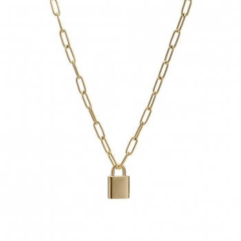 Love Lock Chain Short Necklace Gold