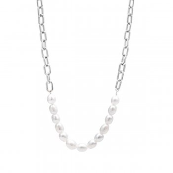 Pearl Link Necklace Steel