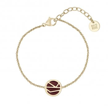 Rose Enamel Bracelet Brown/Gold