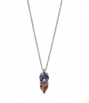 Joplin Short Necklace Brown/Blue/Steel