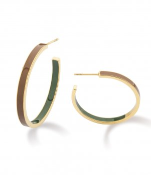 Flavia Enamel Earring Olive/Brown/Gold