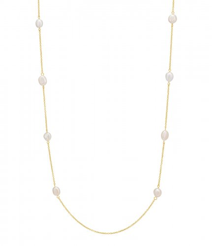 Devious Pearls Long Necklace Gold