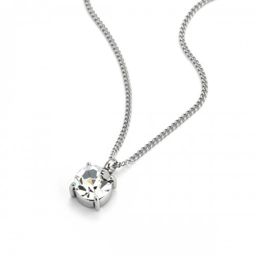 Sence Crystal Short Necklace Clear/Steel