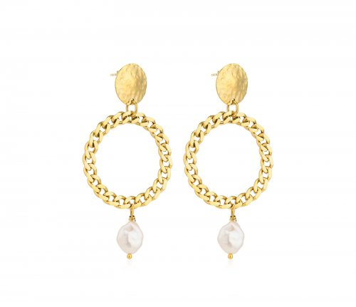 Devious Chain Pearl Earring Gold