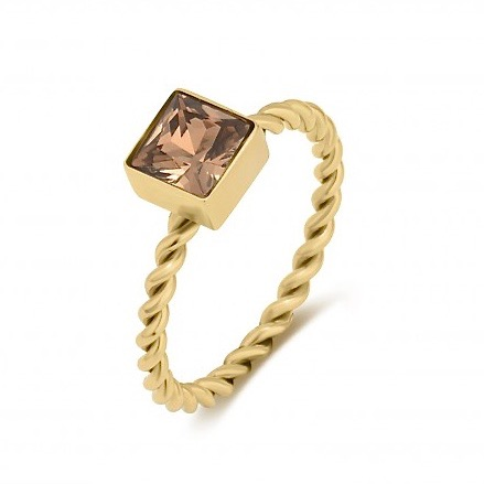 Cube Twine Ring Brown/Gold
