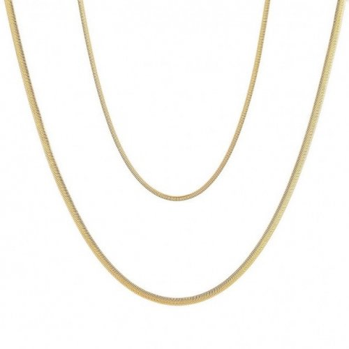 Snake Duo Long Necklace Gold