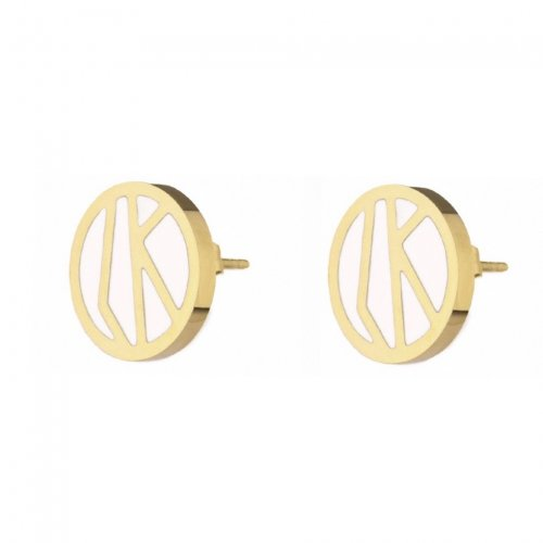Rose Enamel Earring White/Gold