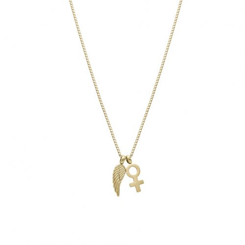 Wing Woman Necklace Gold