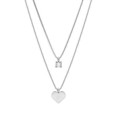 Ice Heart Duo Necklace Steel