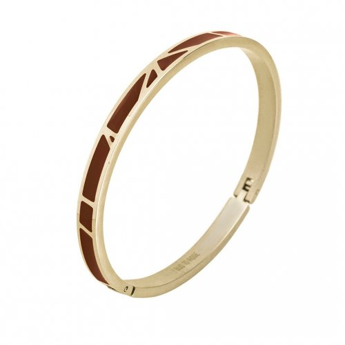Rose Enamel Bangle Brown/Gold
