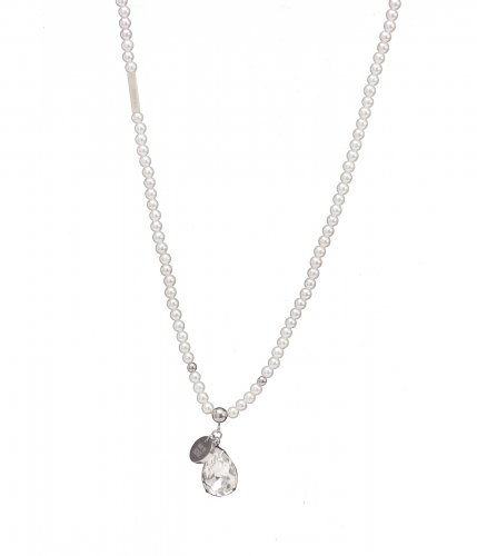 Pearl Long Necklace White/Steel