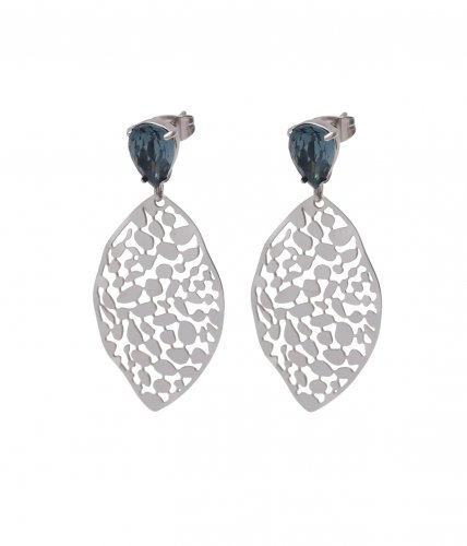 Leaf Crystal Small Earring Blue/Steel