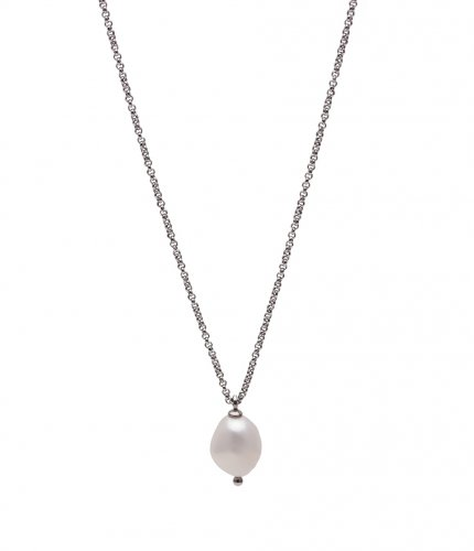 Baroque Pearl Short Necklace Steel